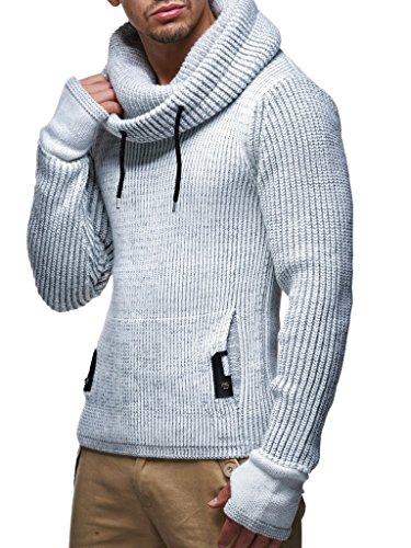 Leif Nelson Herren Strick-Pullover Strick-Pulli mit Schalkragen Moderner Woll-Pullover Langarm-Sweatshirt Slim Fit LN5060 Grau XXX-Large