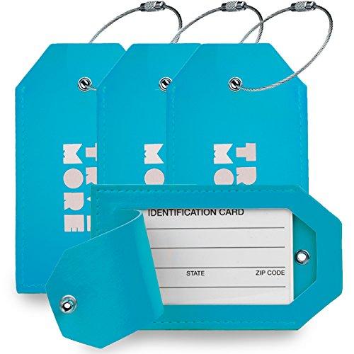 4er-Pack TravelMore PU-Leder-Gepäckanhänger für Koffer mit Sichtschutz - Reise-Kofferanhänger mit Adressschild für Koffer, Taschen, Rucksack und Gepäck - Herren und Damen - Blau