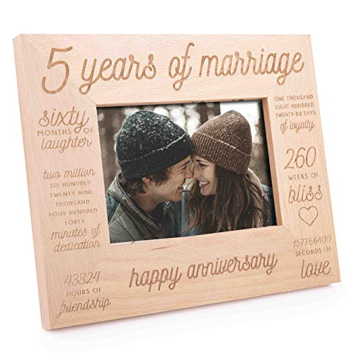 GSM Brands Wooden Picture Frame for Anniversary - 5 Years of Marriage