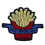 Toppa ricamata da applicare con ferro da stiro o cucitura, tema: Fries Before Guys Patatine fritte