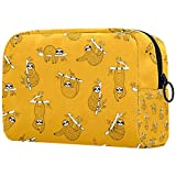 Bolsa de brochas de maquillaje personalizable, bolsa de aseo portátil para mujeres, bolso cosmético, organizador de viaje lindo bebé perezoso