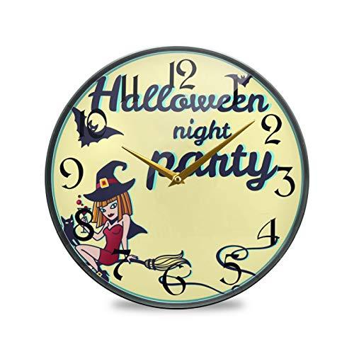 ART VVIES Reloj de Pared Redondo de 9,5 Pulgadas sin tictac silencioso operado con Pilas Oficina Cocina Dormitorio decoración del hogar-Fiesta de Halloween Bruja Gato Luna Estrellas