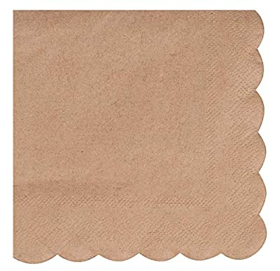 Cocktail Napkins - 100-Pack Disposable Kraft Paper Napkins, Rustic Holiday, Wedding, Birthday Party Supplies, Solid Color and Scalloped Edge Design, 3-Ply, Brown, Folded 4.7 x 4.7 Inches