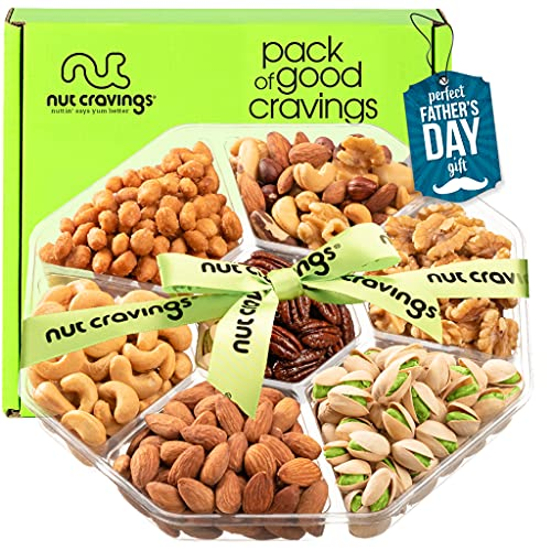 Fathers Day Nut Gift Basket + Green Ribbon (7 Piece Assortment, 1 LB) - Prime Arrangement Platter, Birthday Care Package Variety, Healthy Food Tray, Kosher Snack Box for Dad, Women, Men, Adults