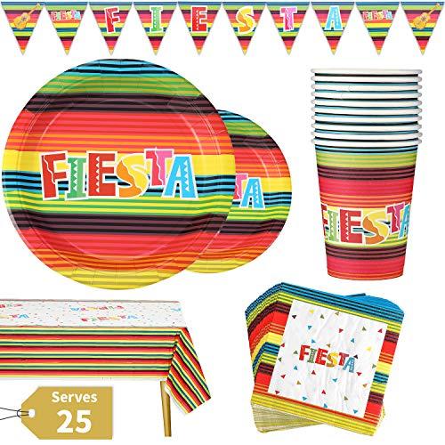 Vajilla para Fiesta Mexicana Set 177 Piezas Cinco de Mayo para Celebración Incluye Platos Vasos Servilletas de Papel Mantel y Pancarta, Reutilizable 25 Invitados