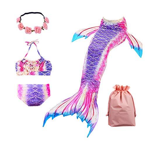 Lantop Meerjungfrauenschwanz-Schwimmanzug für Kinder, 3-teiliges Prinzessinnen-Bikini-Set Gr. 11-12 Jahre, violett