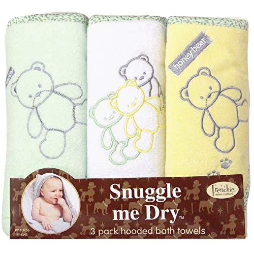 Frenchie Mini Couture, Hooded Bath Towels for Babies, 80% Cotton/20% Polyester, Bear Hooded Towel Set, Pack of 3