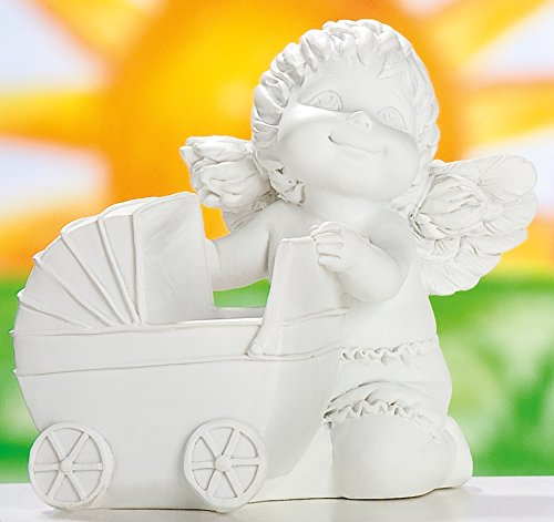 GILDE Engel decoratieve engel engelfiguur decoratief figuur Lucy met kinderwagen, 8,5 x 9 x 10 cm