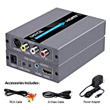 EASYCEL RCA Svideo to HDMI Converter, RCA Composite CVBS AV or Svideo + R/ L Audio Input to HDMI Output Upscale Converter, Supports 720P/ 1080P Output Switch for N64, PS2, Wii, DVD