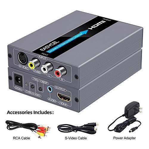 EASYCEL Convertitore da RCA Svideo a HDMI con cavi RCA e S-video, Convertitore da Composito AV a HDMI, Ingresso RCA S-video Uscita HDMI con 3.5mm Jack Audio(Alluminio)