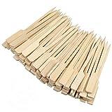 heavenlife 100 Piezas Brochetas de Bambú para Barbacoa, 9cm Pinchos Palillos de Bambú, Madera Parrilla Palos Pincho, Palitos de Cóctel para Buffets BBQ Kebabs Aperitivos Hamburguesas Verduras Frutas