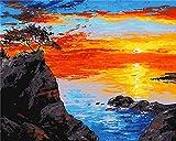 nobrand,pintar por numeros adultos Playa Paisaje DIY Niños Principiante Pintura al óleo Set Decoración familiar Regalo de arte-Con Marco 40X50Cm