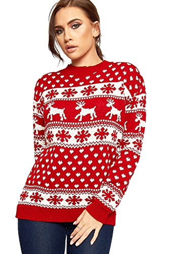 WearAll Women's Reindeer Snowflake Long Sleeve Festive...