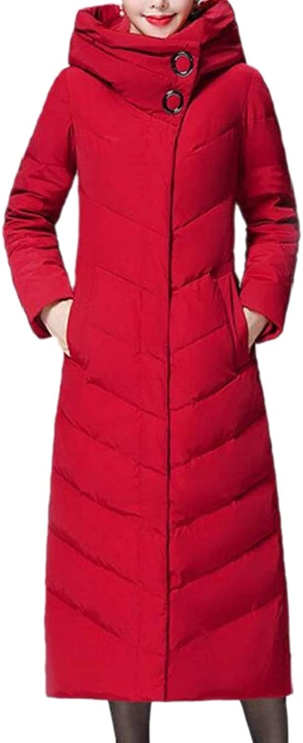 GenericWomen Puffer Hooded Thicken Stand Collar Down Long Overcoat Coat
