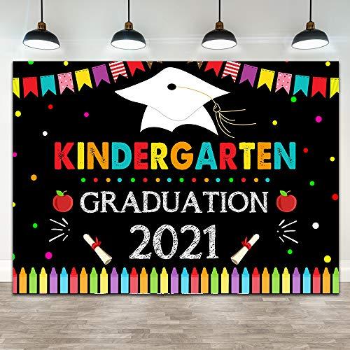 Ticuenicoa 7×5ft Kindergarten Graduation 2021 Backdrop Kindergarten Children Grad Congrats Congratulation Class of 2021 Party Banner Decorations Apple Crayon Graduation Photography Background Props