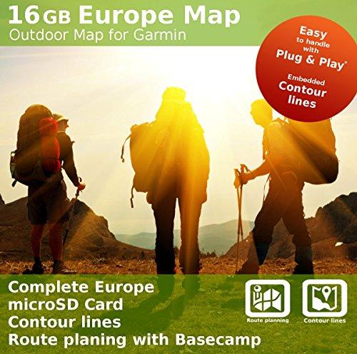 Europa Topo Outdoor Karte–16GB microSD Karte Kompatibel mit Garmin Oregon 600, 600t, 650, 650T, 700, 750, 750T