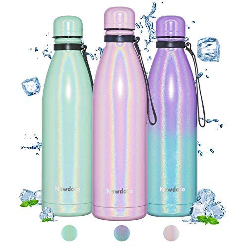 Newdora Botella de Agua Deportiva de Acero Inoxidable, Botella Termica con Doble Aislamiento para 12 Horas de Bebida Caliente y 24 Horas de Bebida Fría, 750ml, Rosa