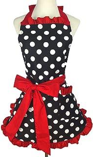 Lovely Vintage Sweetheart Red Bib 100% Cotton Apron Dress Christmas Fashion Flirty Retro Kitchen Women Polka Dot Apron Gift (Red)