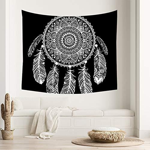 WERT Tapiz Blanco Negro Colgante de Pared decoración del hogar Estilo Boho Dormitorio Fondo de Tela Toalla de Playa Manta de Picnic A5 200x180cm
