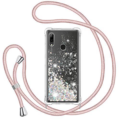 TUUT Funda Glitter Liquida con Cuerda para Huawei P Smart 2019, Glitter Cristal Suave Silicona TPU Bumper Protector Carcasa, Brillante Arena Movediza con Colgante Ajustable Cordón Case -Oro Rosa