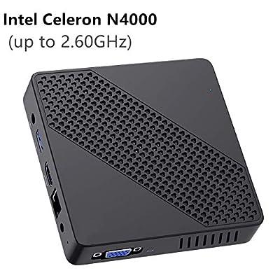 Mini PC Fanless Intel Celeron N4000 (up to 2.6GHz) 4GB DDR/64GB eMMC Mini Desktop Computer Windows 10 Pro HDMI 2.0and VGA Port 2.4/5.8G WiFi BT4.2 3xUSB3.0 Support Linux,NGFF 2242 SSD