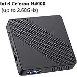 Mini PC Fanless Intel Celeron N4000 (up to 2.6GHz) 4GB DDR/64GB eMMC Mini Desktop Computer Windows 10 HDMI 2.0and VGA Port 2.4/5.8G WiFi BT4.2 3xUSB3.0 Support Linux,NGFF 2242 SSD Auto Power On