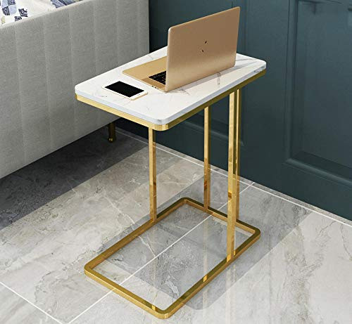 Longxs Coffee Table Runner,Marble Sofa Side Table, Corner Table Small Table, C-Shaped Coffee Table, Simple Iron Small Round Table Bedside Table-Style 2 (55 * 45 * 30)