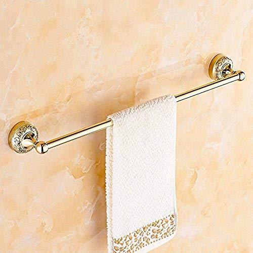 PYROJEWEL Montado en la pared del carril de baño Cuarto de baño estante de rack Bastidores suspensión de una sola barra baño cuarto chapado en oro tallado Estante colgante colgante de hardware estante