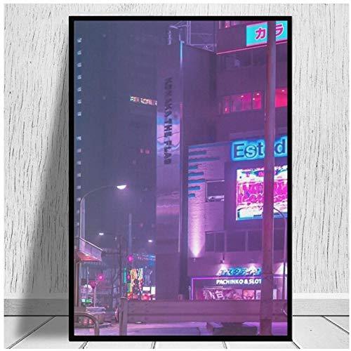 SDGW Solo La Lluvia Centro De Tokio Impresiones En Lienzo Arte Pinturas En Lienzo Arte Abstracto Impresiones En Lienzo para La Decoración De La Sala De Estar-50X75Cm Sin Marco