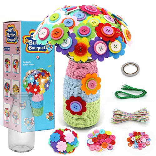 DIY Flower Craft Kit, Make Your Own Flower Bouquet with Buttons and Felt Flowers, Vase Art Toy & Craft Project for Children, Fun Activity Gift for Boys & Girls Age 4 5 6 7 8 9 10 Year Old (Sunflower)