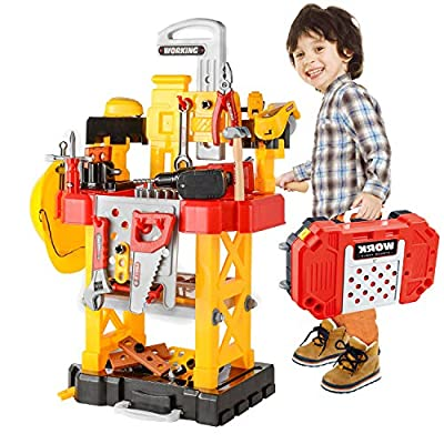 Toy Choi's Pretend Play Series Transformable Workbench Toy Tool Play Set, 83Pieces Construction Work Shop Toy Tool Kit Bench Outdoor Preschool Toy Gift for Kids Toddler Baby Children Boys and Girls