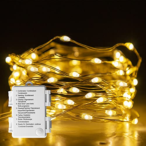 EAMBRITE Fairy Light Battery Operated with 8 Modes 50 LEDs String Lights Copper Wire Light Waterproof for Outdoor Garden Decor Indoor Wedding Party Bedroom Decorations (16ft, Warm White)