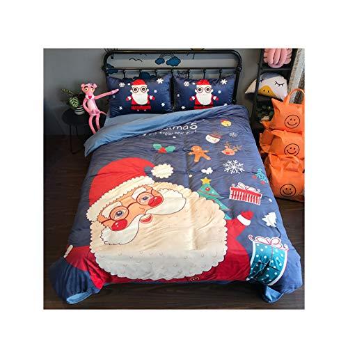 NAFE - Juego de sábanas y fundas de almohada para niños, diseño de Navidad con estampado de ante cálido, tamaño Queen