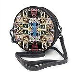 Bolso redondo mujer Round Crossbody Bag Madonna Collage Handbag Purse Single Shoulder Bag Sling Bag