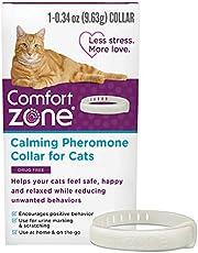 طوق الفرومونات المهدئ للقطط من كومفورت زون، للمساعدة في تخفيف التوتر والقلق وتصميم مانع للاختناق، لون رمادي، عبوة واحدة