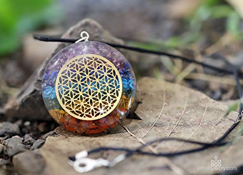 Healing Seven Chakra Crystal Pendant with Flower of Life - Anti-Radiation - EMF Shield Necklace Jewelry for Stress Relief & Spiritual Healing - ORGONE device energy generator for reiki & meditation