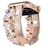 V-MORO Bracelet Compatible with Series 6 Apple Watch Bands 40mm 38mm Women Crystal Elastic Stretch Beaded with Bling Calf Leather Replacement for iWatch Series 5/4/3/2/1 38mm/40mm khaki