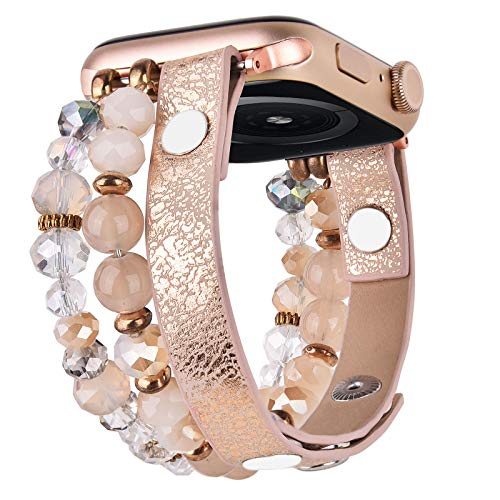 V-MORO Bracelet Compatible with Series 6 Apple Watch Bands 40mm 38mm Women Crystal Elastic Stretch Beaded with Bling Calf Leather Replacement Wristbands for iWatch Series 5/4/3/2/1 38mm/40mm with Rose Gold Stainless Steel Adapter (khaki,38/40)