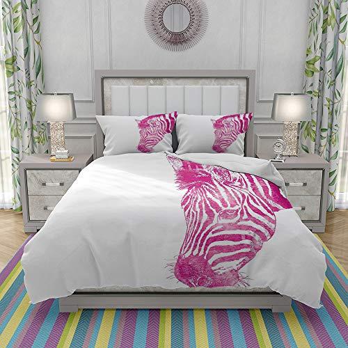 MOONLIT Duvet Cover Set-Bedding,Head of Zebra Vibrant Portrait Watercolor Murky Aquarelle Watercolor,Quilt Cover Bedlinen-Microfibre 140x200cm with 2 Pillowcase 50x80cm