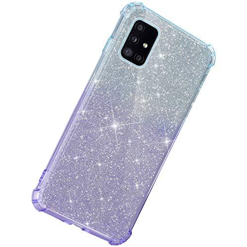 Herbests Kompatibel mit Samsung Galaxy A71 Hülle Durchsichtig Farbverlauf Glänzend Kristall Glitzer Transparent TPU Silikon Handyhülle Ultradünn Stoßfest Bumper Case Schutzhülle,Blau Lila
