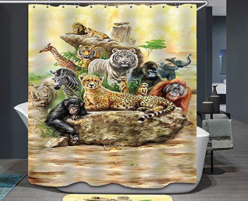 PSB Dschungeltiere Duschvorhang Wilde Safari Tiger Löwe Gepard AFFE Afrikaner