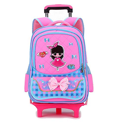 ZZLHHD Detachable Trolley Backpack,Children tie rod backpack, detachable push-pull bag-Powder a_Two rounds,Childrens Rolling Backpack