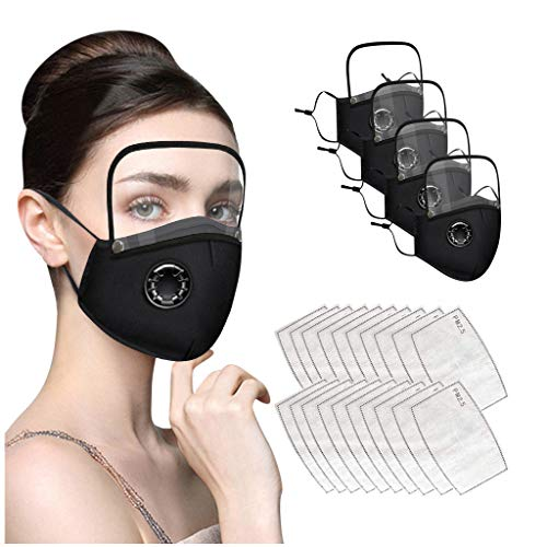 Wiederverwendbare Waschenbare Mundschutz Erwacsende, mit Filter, Verstellbaren Ohrriemen und Durchsichtigem Quadratischem Eyes shield, aus Baumwolle mit Atemventil für Alltag, Laufen (Schwarz, 4)