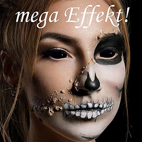 Funlinsen Black Sclera-Markenqualität- 1 PAAR-D-22mm-schwarze Linsen,Cosplay, Larp, Zombie Kontaktlinsen, Crazy Funlinsen, Halloween, Fastnacht,Vampir - 6