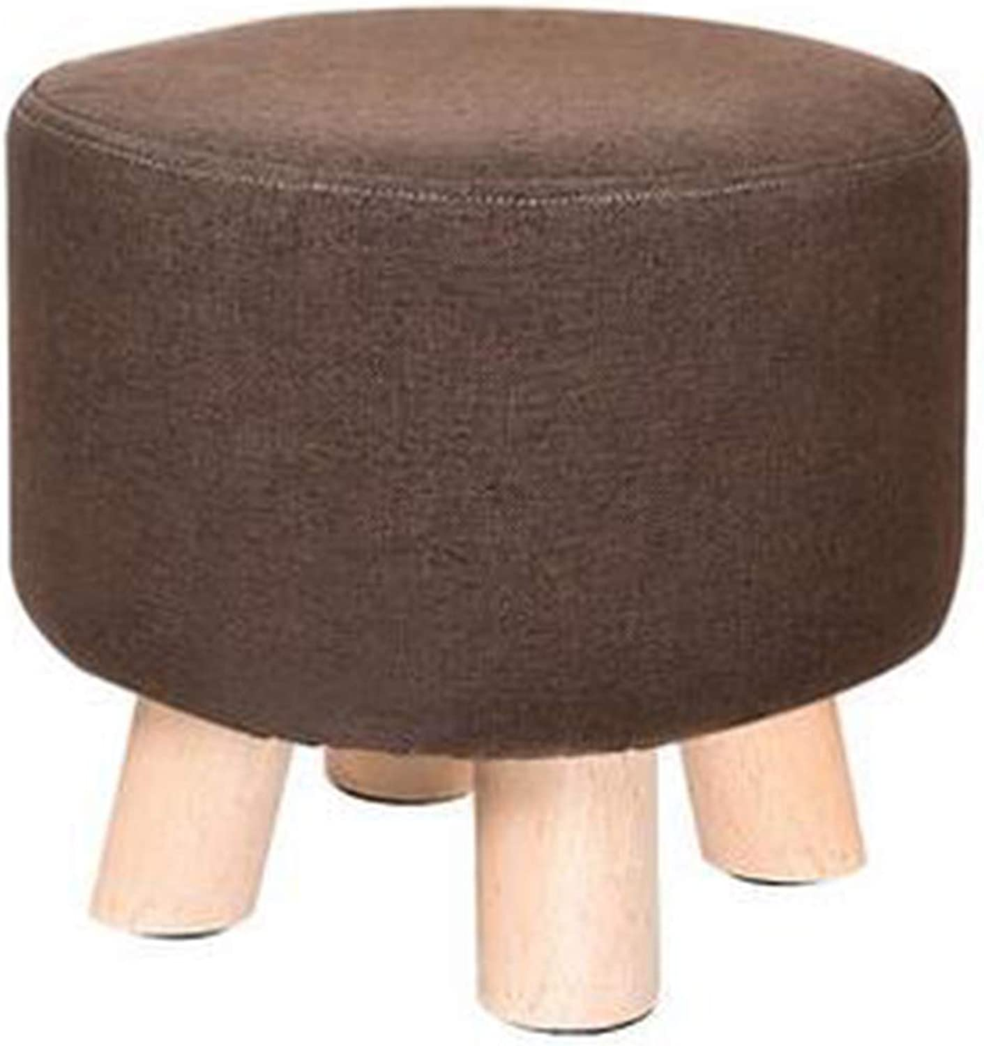 Creative Round Wooden Footstool Linen Foot Rest Stool Adult Kids Applicable, Brown