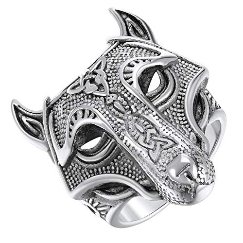 ChainsPro Skull Rings for Men Costume Jewelry Viking Celtic Size 11 Cool Wolf Head Ring