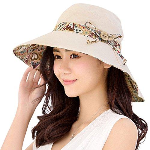 HAPEE - Sombrero de verano para mujer, factor de protección solar 50, reversible y plegable, ala ancha, ideal para la playa Beige beige Large