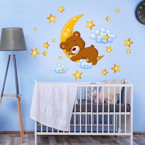 kina R00447 Pegatina de Pared para niños - Osito de Peluche en la Luna - Medidas 30x120 cm - Decoración de Pared, Pegatinas de Pared, Papel Pintado