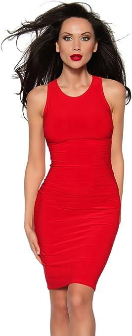 Rotes Cocktail Kleid Mit Tiefem Ruckenausschnitt Und Kreuz Tragern Amazon De Bekleidung