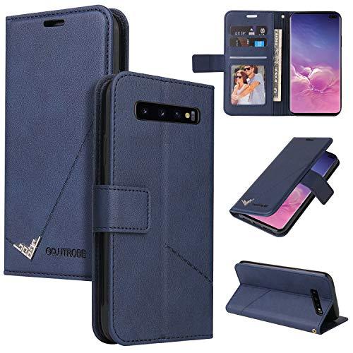 LODROC Galaxy S10 Hülle, TPU Lederhülle Magnetische Schutzhülle [Kartenfach] [Standfunktion], Stoßfeste Tasche Kompatibel für Samsung Galaxy S10/G973F - LOYKB0600284 Blau